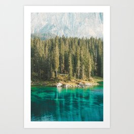 Dolomites XI [ South Tyrol, Italy ] Amazing turquoise water in Carezza lake⎪Colorful travel photography Poster Art Print