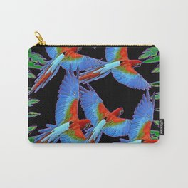 FLOCK OF JUNGLE BLUE MACAW PARROTS Carry-All Pouch