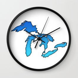 Great Lakes in Blue Wall Clock