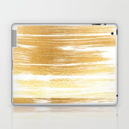 Abstract faux gold white modern paint brushstrokes Laptop & iPad Skin