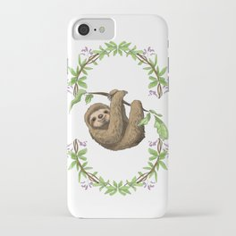 Sloth in Jungle Wreath iPhone Case