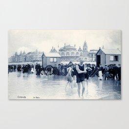 On the beach in 1900, history swimwear Canvas Print