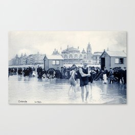 On the beach in 1900, history swimwear Canvas Print