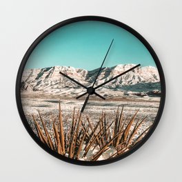 Vintage Mojave Mountains // Snowcapped Desert Landscape Cactus Plant Perspective Photograph Wall Clock