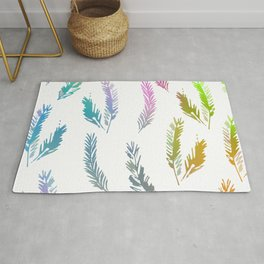 Rainbow Colored Feather Pattern Rug