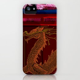 Chinese Garden Dragon Topiary Cherry Blossoms  iPhone Case