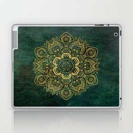 Golden Flower Mandala on Dark Green Laptop & iPad Skin