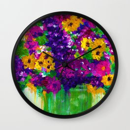 Colorful painted bouquet of flowers Wall Clock