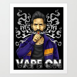 Vape On Illustration | Bearded Vaper | Mech Mod Art Print
