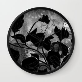 Queen Sweet Pea -- grayscale Wall Clock
