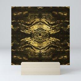 All Seeing eye golden texture on aged wood Mini Art Print