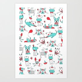 One dog and his friends Art Print