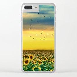 Sunflower fields Clear iPhone Case
