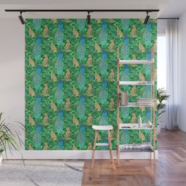 Art Nouveau Peacock Print, Cobalt Blue and Emerald Green Wall Mural