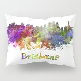 Brisbane skyline in watercolor Pillow Sham