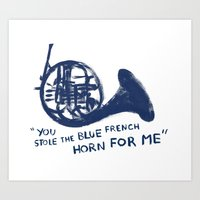 how i met your mother Art Prints featuring How I Met Your Mother - Blue French Horn by Victoria Schiariti