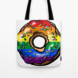 Donut lgbt rainbow flag gay lesbian queer bi Tote Bag