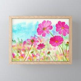 Symphony In Pink, Watercolor Wildflowers Framed Mini Art Print