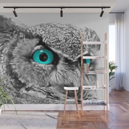 Black and White Great Horned Owl w Aqua Eyes A174 Wall Mural