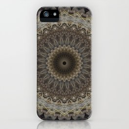 Mandala in warm brown and gray tones iPhone Case