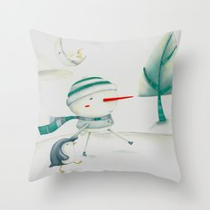 Snowman and friend Throw Pillow