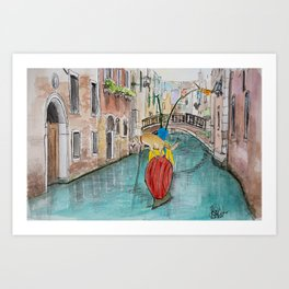 Snail and Dog in Venice I Art Print