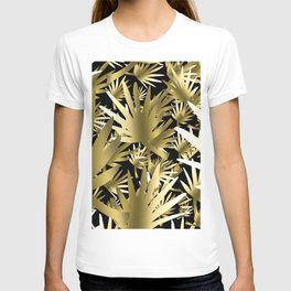 Modern color gold black tropical abstract leaves T-shirt
