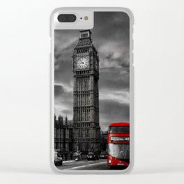 London - Big Ben with Red Bus bw red Clear iPhone Case