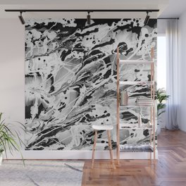 Black And White Abstract Wet Paint Wall Mural