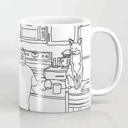 Surreal Foxes in the Kitchen Line Drawing Coffee Mug