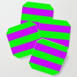 Neon Green & Purple Wide Horizontal Stripes #1 Coaster