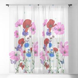 Wild flowers,butterflies pattern  Sheer Curtain