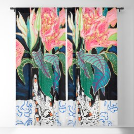 Swan Vase with Pink Lily Flower Bouquet on Dark Blue and Black Winter Floral Blackout Curtain