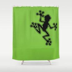 Black Frog Shower Curtain