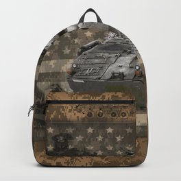 Light Armored Vehicle Digital Camo Pattern American Flag Backpack