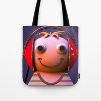 headphones Tote Bags featuring Headphones by Aguinaldo Goncalves
