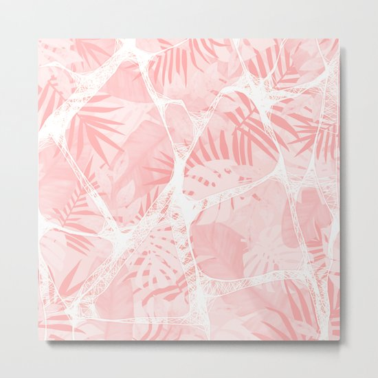 Abstract Soft Pink Tropical Design Metal Print