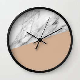 Marble and Hazelnut Color Wall Clock