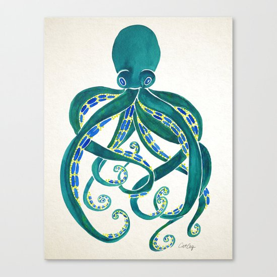 Octopus Watercolor Canvas Print