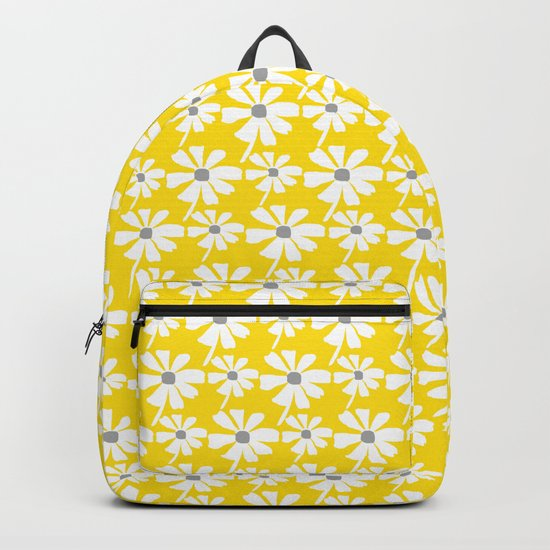 Daisies In The Summer Breeze - Yellow White Grey by denidesigns