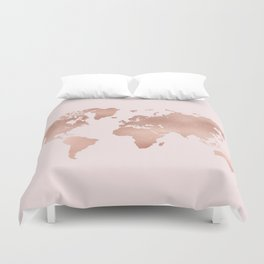 Rose Gold World Map Duvet Cover