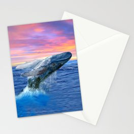 Breaching Humpback Whale at Sunset Stationery Cards