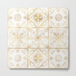 Trendy Vintage Gold Geometric Ornament Tile Art Metal Print