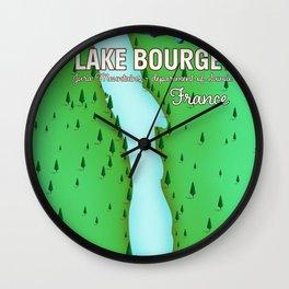 Lake Bourget Jura Mountains department of Savoie, France Map Art Print Wall Clock