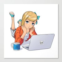 computer Canvas Prints featuring Computer Girl by Phillip Tajalle