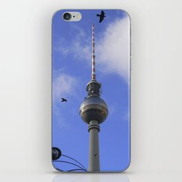 "TV Tower with detail of ""World time Clock"", BERLIN iPhone Skin"