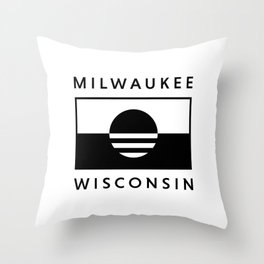 Milwaukee Wisconsin - White - People's Flag of Milwaukee Throw Pillow