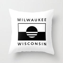 Milwaukee Wisconsin - White - People's Flag of Milwaukee Throw Pillow