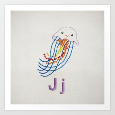 J Jellyfish Art Print