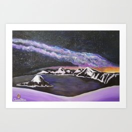 Milky Way Over Crater Lake Art Print